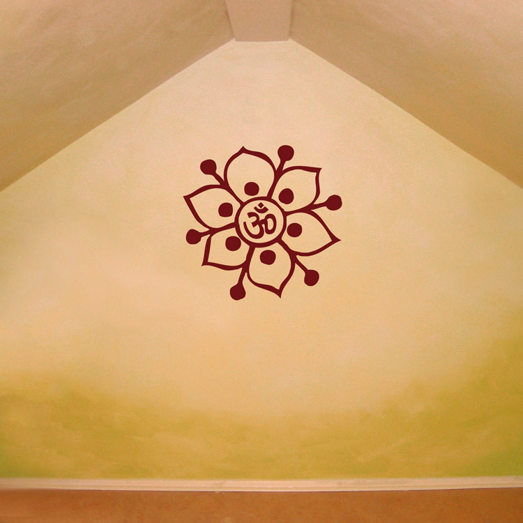Om Symbol Flower Yoga Meditation Wall Decals Stickers
