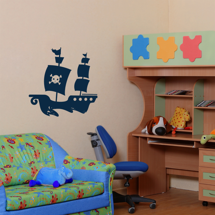 pirate ship with soaring birds wall decals. Black Bedroom Furniture Sets. Home Design Ideas