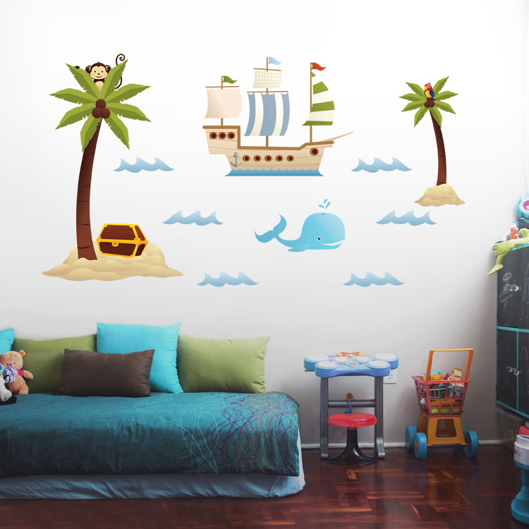 Treasure Island, Palm Trees U0026 Pirate Ship   Scene   Printed Wall Decals  Stickers Graphics