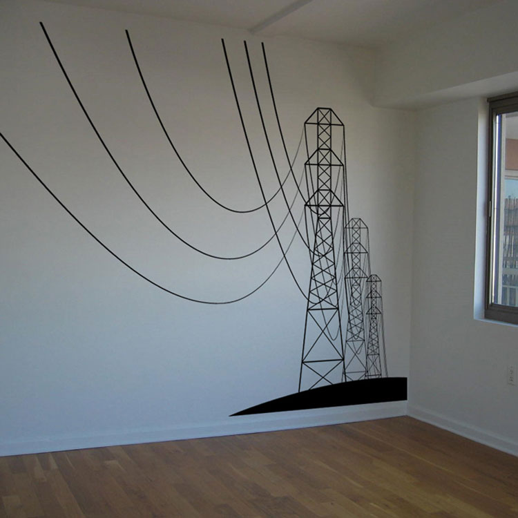 Giant Powerlines Electrical Wires Vinyl Wall Decals