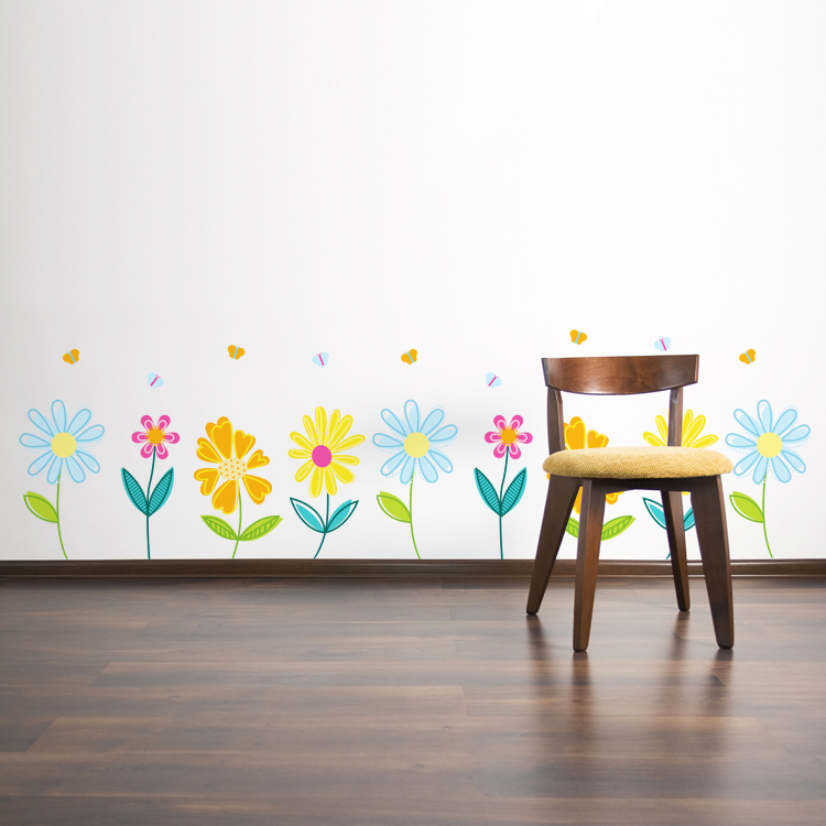 Bon Pretty Spring Garden Flowers With Butterflies   Printed Wall Decals Stickers  Graphics