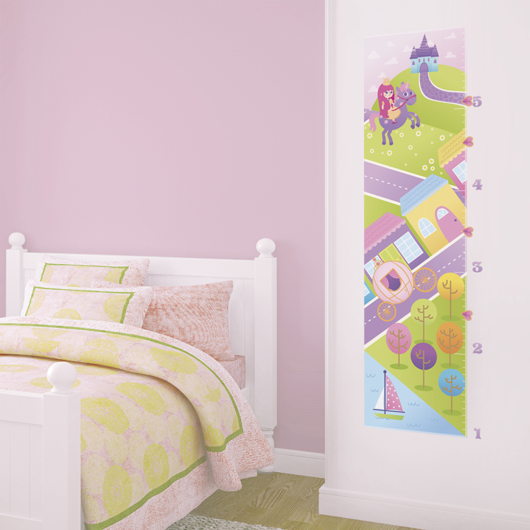 Princess Castle Unicorn Growth Chart Printed Wall Decals