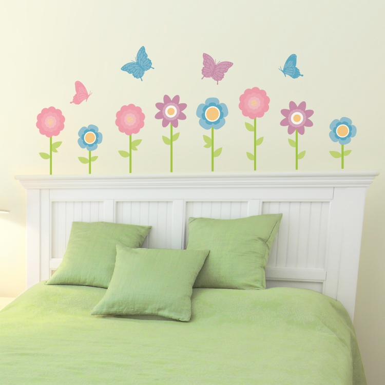 Wonderful Customizable Wall Stickers Part - 11: Simple Butterfly U0026 Flower Garden - Set Of 24 - Printed Wall Decals Stickers  Graphics