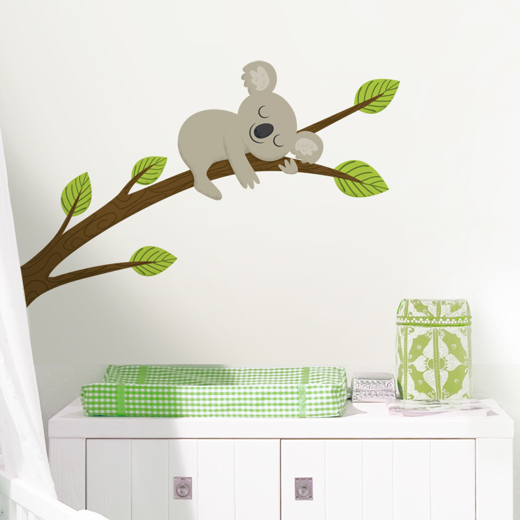& Sleepy Koala on a Branch - Printed Wall Decals Stickers Graphics