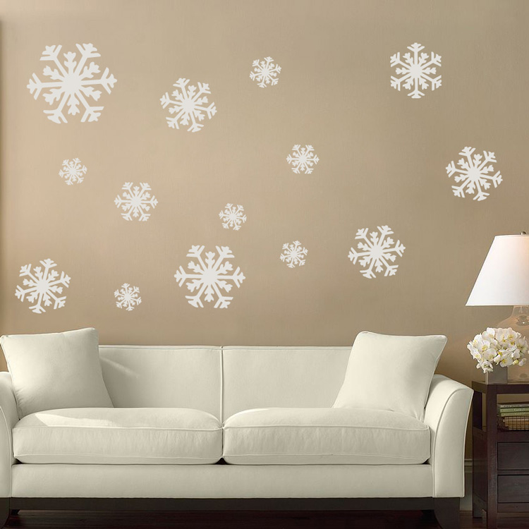 snowflakes set of 14 wall decal sticker graphic. Black Bedroom Furniture Sets. Home Design Ideas