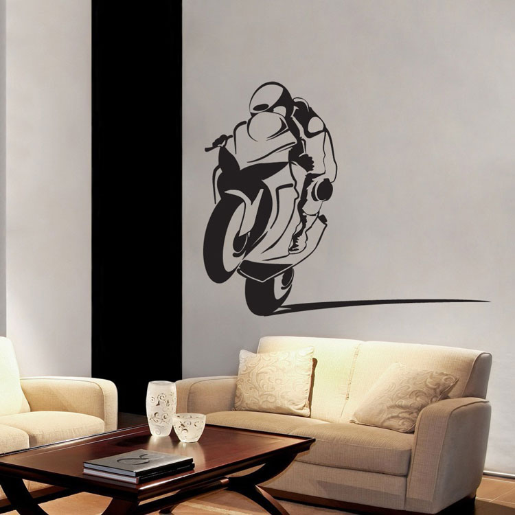 motorcycle racer - sportbike - power wheelie biker wall decal