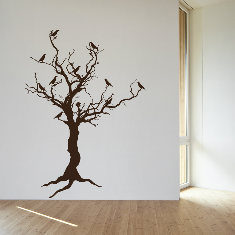 stark tree with birds u0026 exposed roots door decoration halloween wall decals