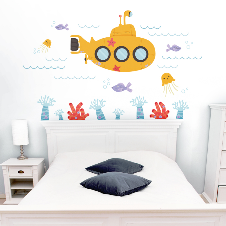 Submarine Under The Sea Underwater Scene Printed Wall