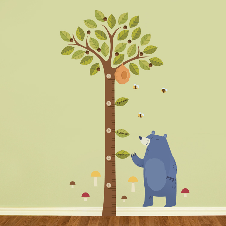 tall acorn tree growth chart - printed wall decals stickers graphics
