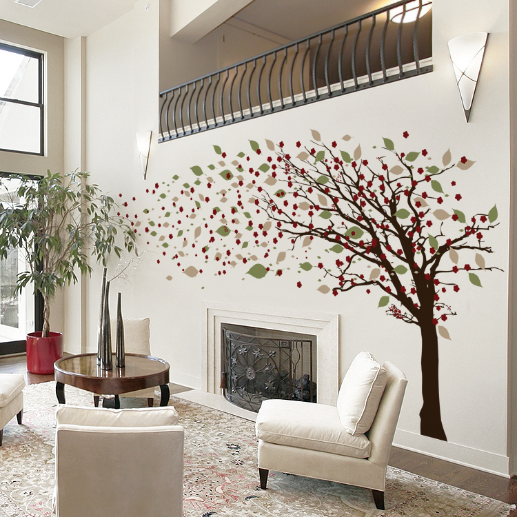 Tall Leaning Tree Blowing With Blossoms Wall Decals
