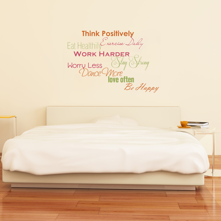 think positively - exercise & motivation - quote - wall decals
