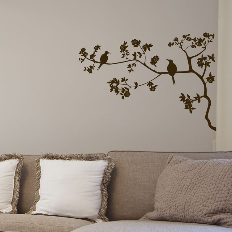 Two birds tree branch wall decals vinyl sticker for Black tree wall mural
