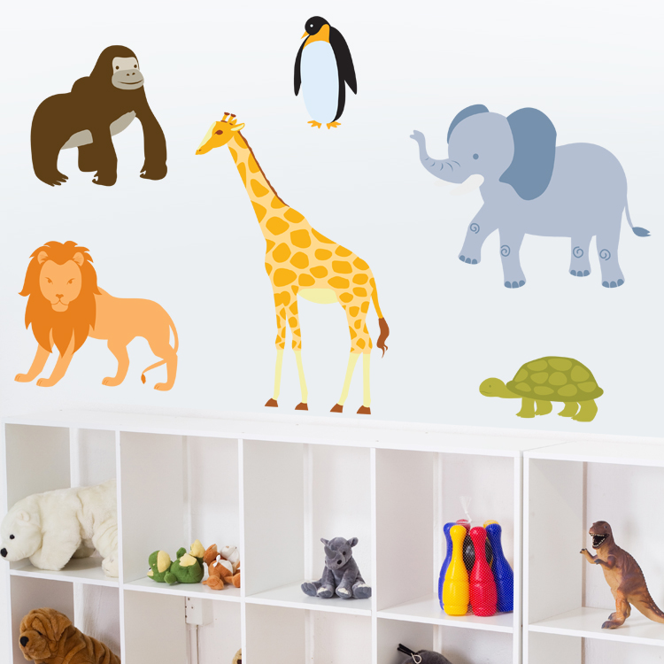 zoo animals set of 6 printed wall decals stickers graphics best animal print wall decal products on wanelo