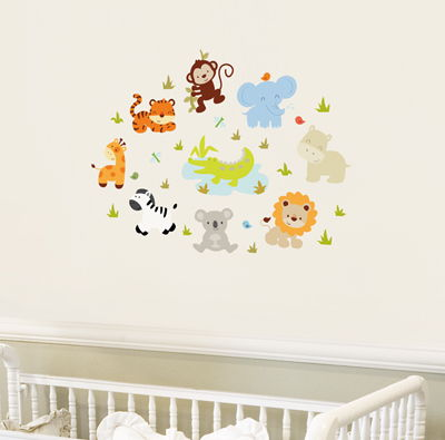 Mini Baby Zoo Animals Printed Wall Decals Stickers Graphics - Zoo animal wall decals