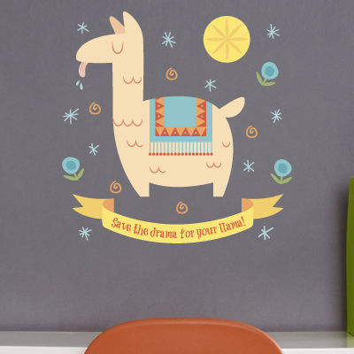 Llama drama quote printed wall decals