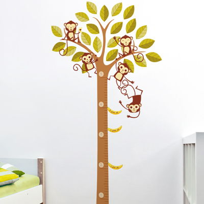 banana loving monkeys in a tree growth chart printed wall decals