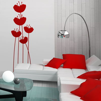 Simple Poppies Set Of 5 Wall Decals Stickers Graphics