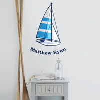Sailboat - Personalized Monogram - Printed Wall Decals