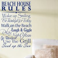 Beach House Rules - Quote - Saying - Wall Decals
