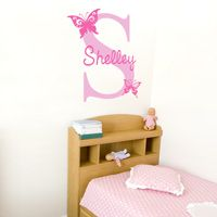 Sweet Butterflies with Name and Initial - Personalized Monogram Wall Decals