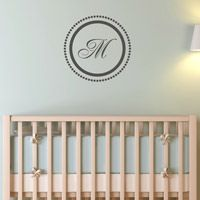 Elegant Circle with Dots Monogram - Monogram Wall Decals