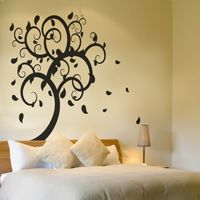 Swirling Tree with Leaves Falling - Giant Vinyl Wall Decals