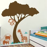 Cute Wild Animals Under a Tree - Wall Decals