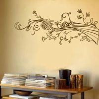 Swirling Wispy Tree Branch with Flowers - Wall Decals