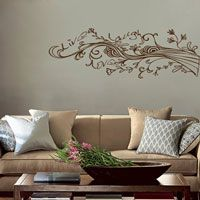 Live Laugh Love - Swirling Wispy Tree Branch with Flowers - Wall Decals
