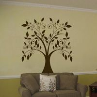 Large Swirling Tree with Falling Leaves - Vinyl Wall Decal