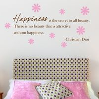 Happiness is the Secret to All Beauty - Quote - Wall Decals