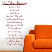 Life's Rules to Happiness - Quote - Motivation - Wall Decals