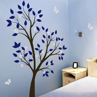 Tall Tree Waving with Blossoms and Butterflies - Wall Decals