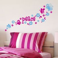 Peace, Flowers & Butterflies - Quote - Wall Decals