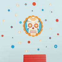 Mini Sugar Skull and Diamonds - Printed Wall Decals