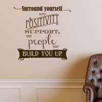 Surround Yourself with Positivity - Chalk Look Sign - Wall Words Decal