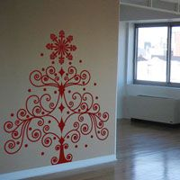 Swirly Christmas Tree - Wall Decal
