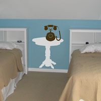Side Table and Old Fashioned Telephone - Wall Decals