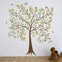 Lively Blooming Tree with Butterflies & Birds - Printed Wall Decals