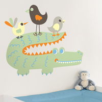 Friendly Alligator & Birds - Jungle Animals - Printed Wall Decals