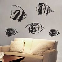 Swimming Fish - Set of Five Angel Fish - Wall Decals