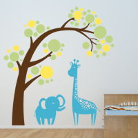 Animals under a Leaning Tree - Wall Decals