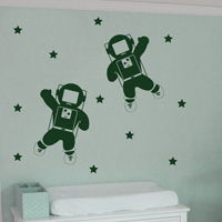 Astronauts in Space - Set of Two - Wall Decals