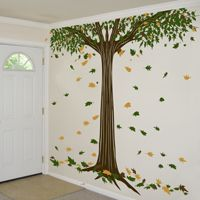 Giant Shade Tree with Falling Leaves - Wall Decals