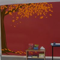 Shady Corner Tree with Leaves Falling - Wall Decals