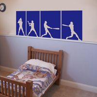 Baseball Players   Series Of 4   Wall Decals