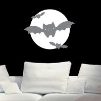 Bats in the Night with a Full Moon - Wall Decals