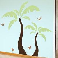 Beach Palm Trees - Set of 2 with Seagulls - Wall Decals
