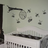 Bumblebees & Bee Hive - Set of Seven - Wall Decals