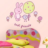 Cute Bunny & Bird - Best Friends - Printed Wall Decals